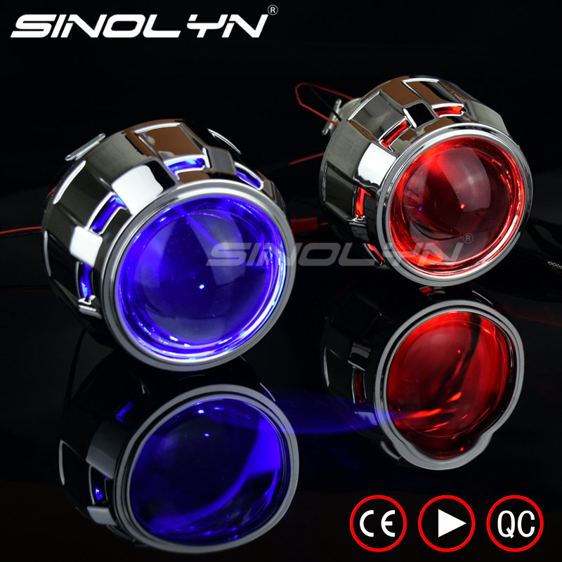 Sinolyn Headlight Lenses Devil Eyes Bi-xenon Projector Lens 2.5 For H4 H7 Car Lights Accessories Retrofit Use H1 HID Light Bulbs