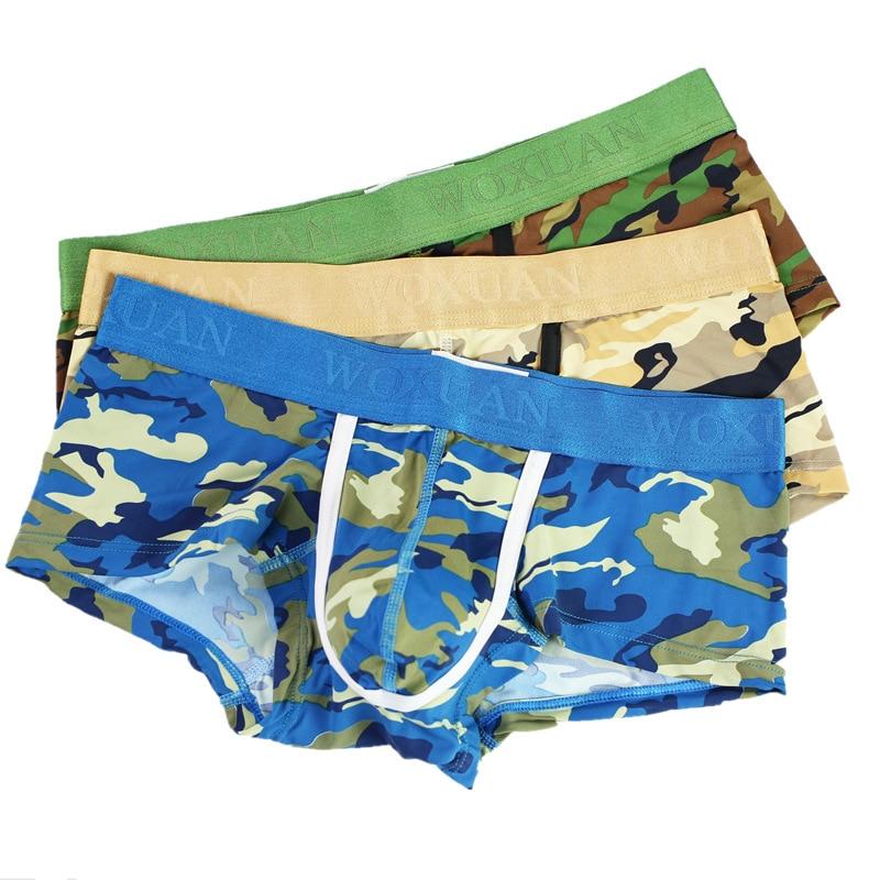 Sexy Underwear Men Camouflage Boxers Bulge Pouch Camo Print Underpants 3PCS/LOT Mens Boxershorts Homens Cuecas Underwear Shorts