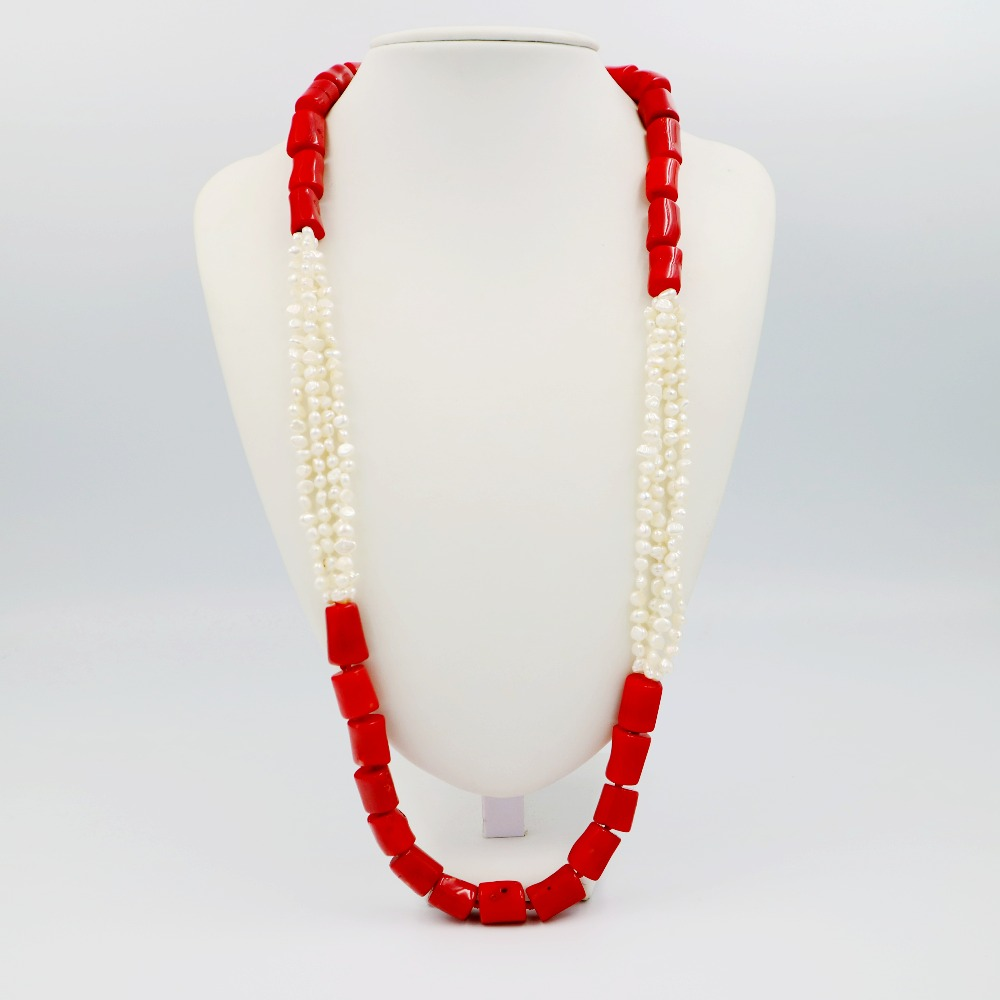 LiiJi Unique Fashion Necklace Natural Red Coral Tube Shape&Freshwater Pearl Long Sweather Necklace 30/76cm