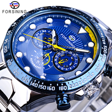 Forsining Blue Mens Watches Sport Steel Band 3 Sub Dial Date Week Waterproof Automatic Mechanical Watch Clock Relogio Masculino цена и фото