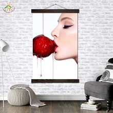 Girl Kissing Cherry Modern Wall Art Print Pop Picture And Poster Solid Wood Hanging Scroll Canvas Painting Home Decoration