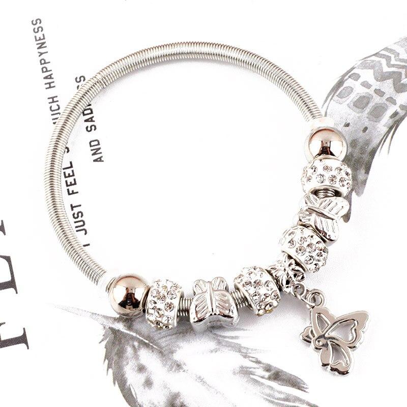 4mm Luxury Brand Jewelry little angel Pendant Beads Love Bracelet Silver Elastic Metal Chain Charm bangles for Women Pulseira