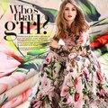 2016 летние цветы и птицы шелк тутового природный шифон печати ткань для платья яркий ткань tissu au метр моды DIY