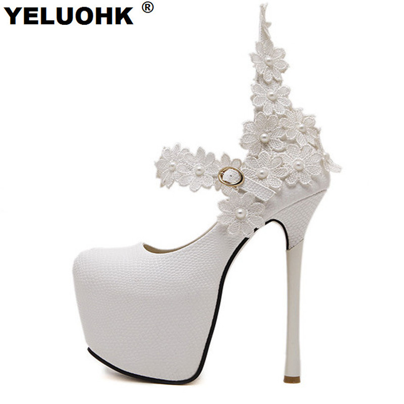 New Fashion Flower Sexy High Heels Wedding Shoes Woman White Shoes Women Pumps 15cm Platform Shoes Bride Stiletto new arrive 2013 fashion free shipping stiletto high heels platform wedding shoes for women white