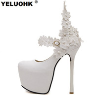 New Fashion Flower Sexy High Heels Wedding Shoes Woman White Shoes Women Pumps 15cm Platform Shoes