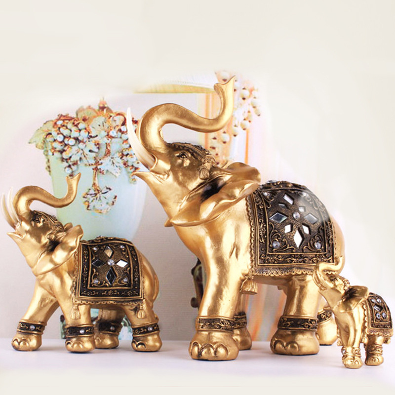Lifelike golden elephant exquisite soft resin ornaments for Gifts for home decor