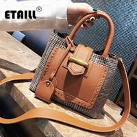 ETAILL 2018 Fashion PU leather Women Bucket Bag Canvas Plaid Composite Bag Messenger Shoulder Bag Top Handle Wide Strap Tote Bag