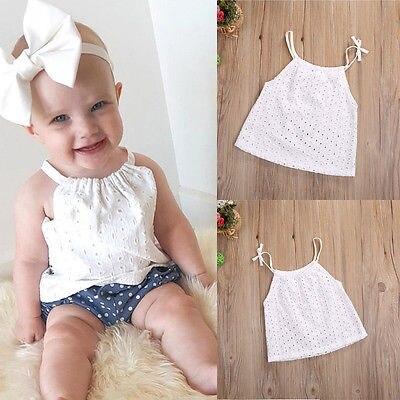 Toddler Baby Girl t-shirt white color Openwork Crochet Lace shirt  Newborn Kids braces Tank Top Tee girl