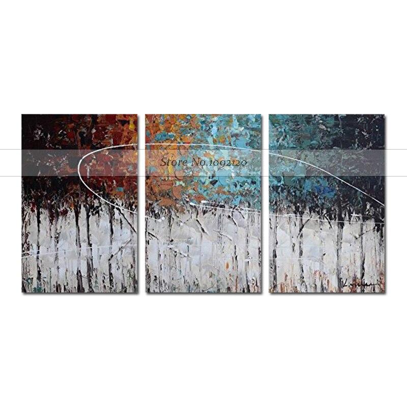 الحديثة الفن التجريدي اللوحة اللون الغابات 3 لوحة قماش الفن التجريدي النفط الطلاء على قماش اليدوية جدار الفن ديكور المنزل-في الرسم والخط من المنزل والحديقة على  مجموعة 1