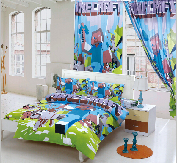 100 cotton font b minecraft b font minions bedding sets kids bed linen with duvet cover