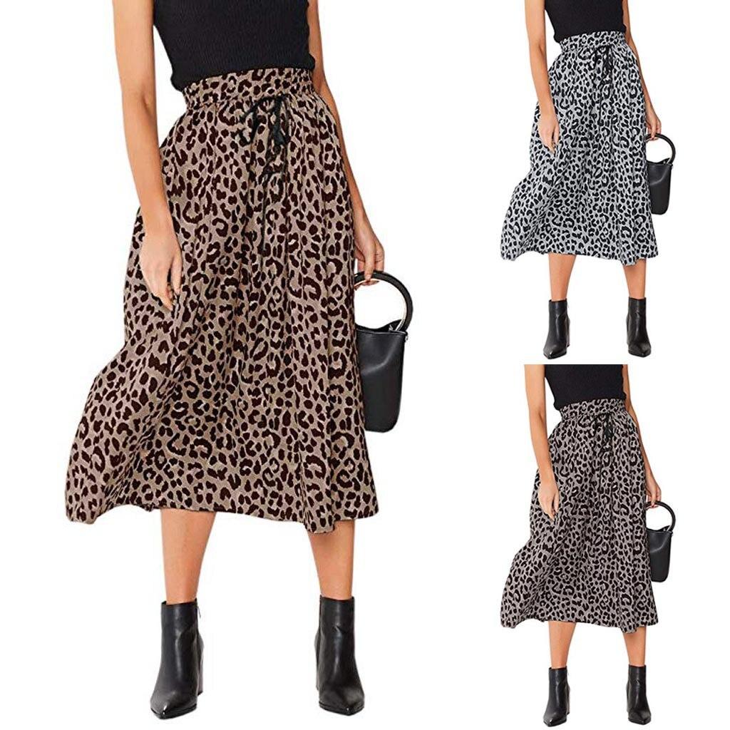Long Leopard Skirt Woman Chiffon Skirts Plus Size Leopard Print Drawstring Pleated Elastic High Waisted Bohemian Maxi Skirt Z4