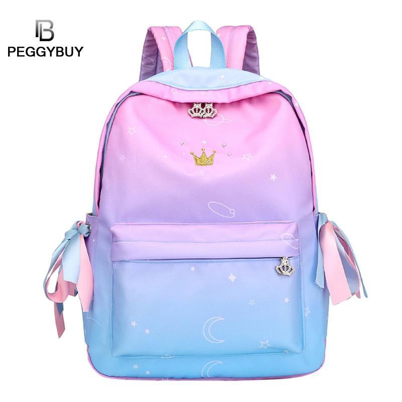 Fashion Rainbow Color Nylon Zipper Backpack Girls Casual Large Capacity Schoolbag Women Stylish Travel Backpack Mochila Feminina