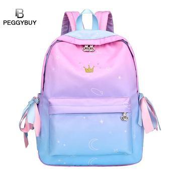 6af352321676 Мода Радуга цвет нейлон молния рюкзак обувь для девочек повседневное  большой ёмкость школьный для женщин Стильный туристический рюкзак .