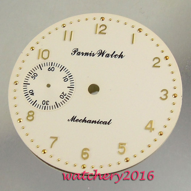 New 38.9mm Parnis beige dial rose golden numbers fit 6497 movement Mens Watch dial
