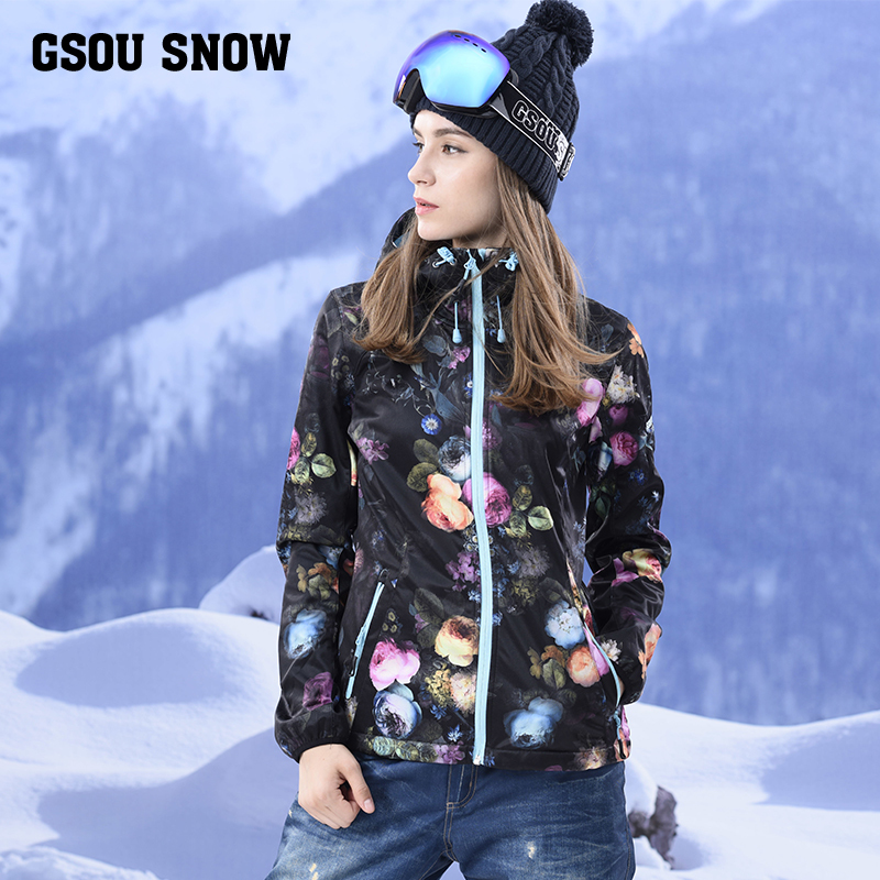 Gsou Snow 2017 new ski suit suit vest board ski jacket  clothing windproof waterproof ladies winter warm jacket free shipping the new 2017 gsou snow ski suit man windproof and waterproof breathable double plate warm winter ski clothes