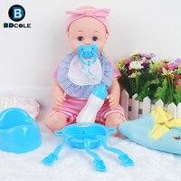 BDCOLE 15 pulgadas Sonido IC renacida Bebé niño y niña Juegos de imaginación Juguete Azul Rosa Vajilla Pezón Accesorios de Vestir Niños regalo