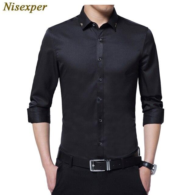 c29b62b72b0dc77 Для мужчин рубашки с длинным рукавом Осень Новые модные дизайнерские  хорошее качество Однотонная рубашка Slim Fit Бизнес Фо