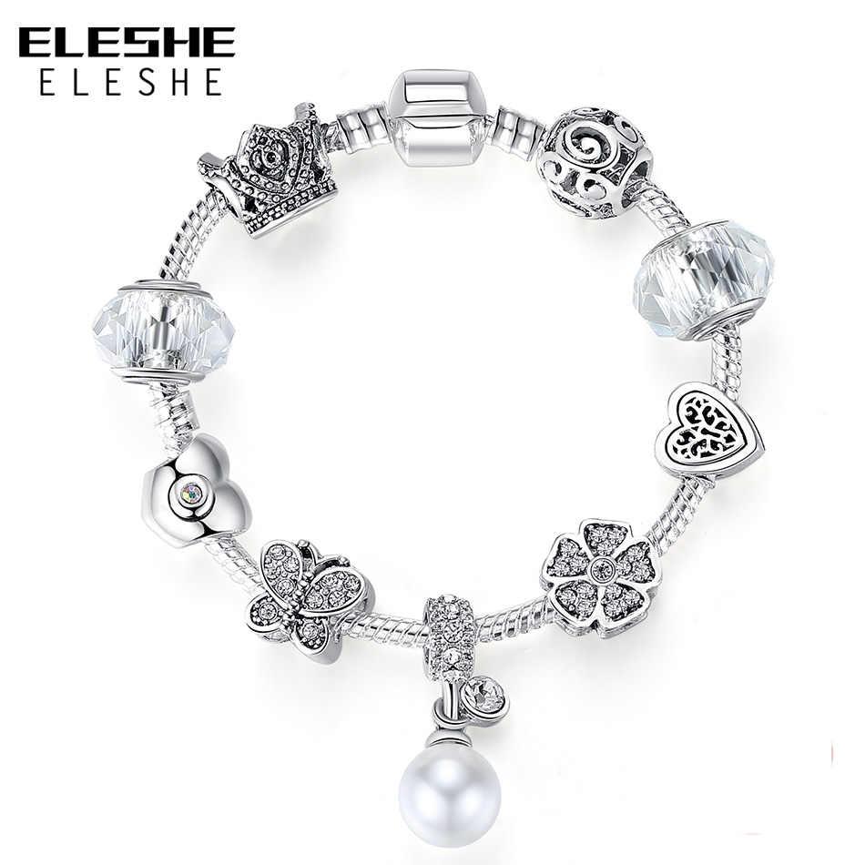 ELESHE, подвеска из искусственного жемчуга, сделай сам, браслет с цветами, CZ Кристалл, брендовый браслет для женщин, ювелирное изделие, подарок