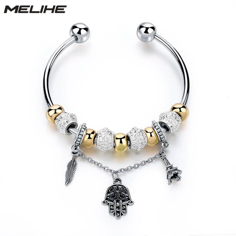MELIHE Fatima Hand Pendant Bracelets & Bangles For Women Girls Ethnic Bangles Wedding Gift DIY Famous Brand Jewelry SBR160176