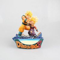 HKXZM Anime 17CM Dragon Ball Z Super Saiyan Son Goku&Gohan Father And Son Kamehameha PVC Figure Collectible Model Toy Gift