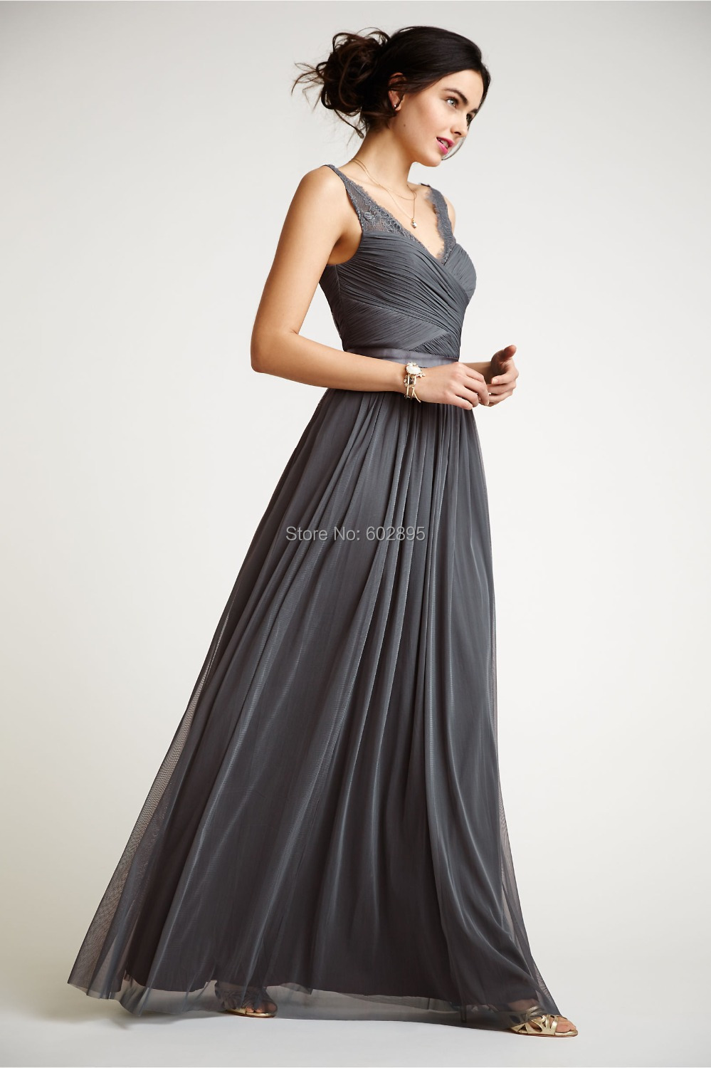 Elegant pleated chiffon lace v neck dark grey bridesmaid for Gray dresses for a wedding