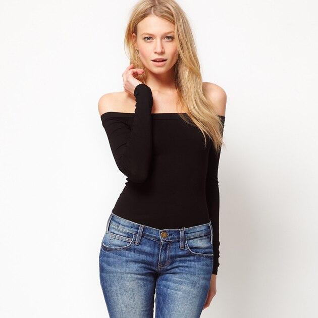 c5bcafb2db7 New Women's Long Shirts Black Knit Off Shoulder Long Sleeve Plus Size  Winter-Autumn Good Elastic Shirt Free ShippngA15