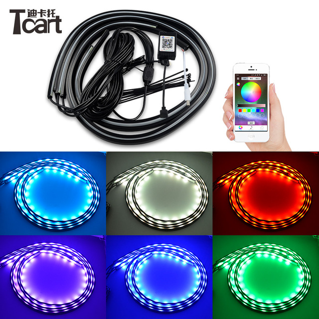 Tcart 4PCS Car Flexible LED Strip RGB APP Control Decorative Atmosphere Lamps Auto Underbody Light Kit For Volkswagen VW golf 4