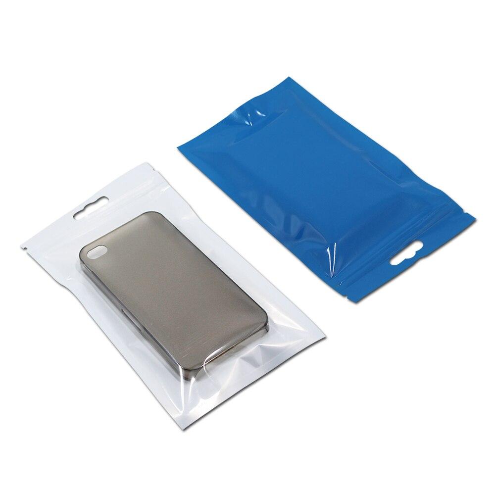 En gros refermable Ziplock sacs pour accessoires électroniques artisanat stockage avant clair arrière bleu en plastique paquet sac accrocher trou