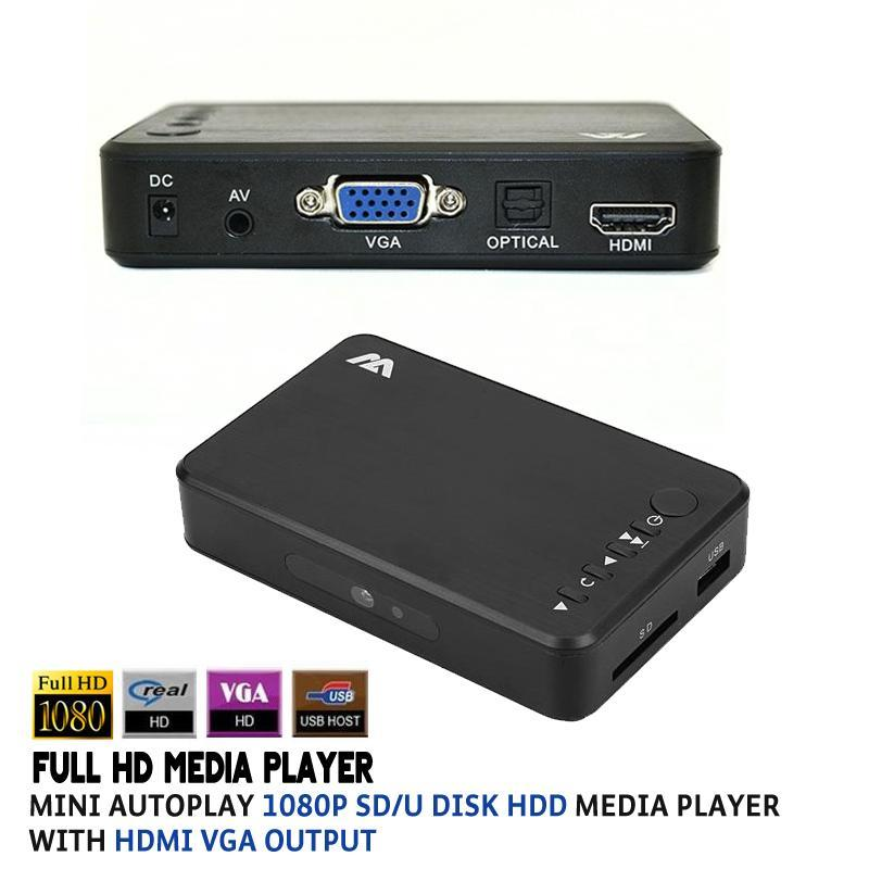 Full HD Media player Mini Autoplay 1080p SD/U Disk HDD USB2.0 External multimedia player With HDMI VGA Output Support H.264 RMVB the resume kit
