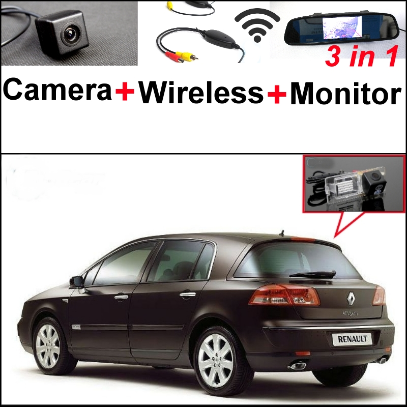 For Renault Vel Satis X73 3 in1 Special Rear View Camera + Wireless Receiver + Mirror Monitor Easy Back Up Parking System for renault vel satis bj0