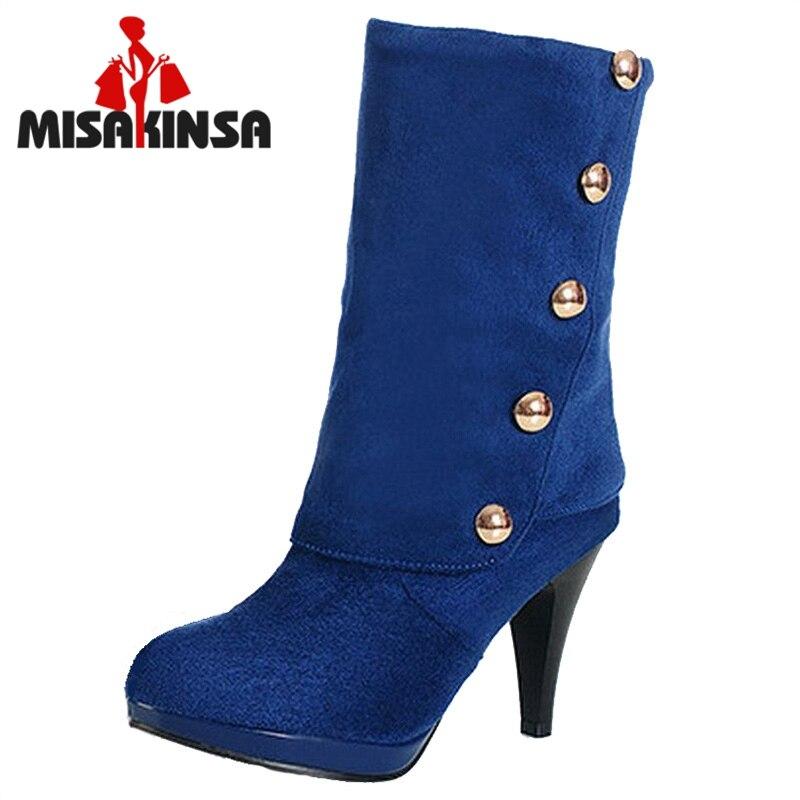 Corto azul 31 Flock Botas marrón Tamaño rojo Remaches Mujer Calzado Medio Tacones Zapatos Mujeres Negro 43 Invierno H6P0qw5AW