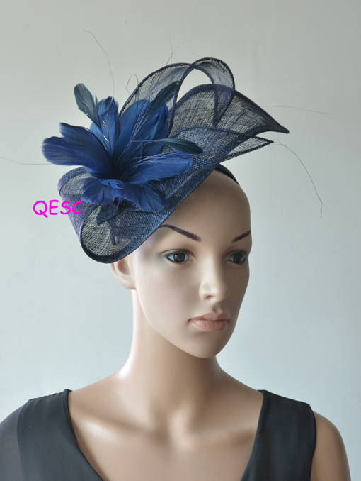8e0c9429 Design special shape Sinamay fascinator women's hat w/ feather flowers for Kentucky  derby,melbourne cup,ascot races, wedding.-in Women's Hair Accessories ...