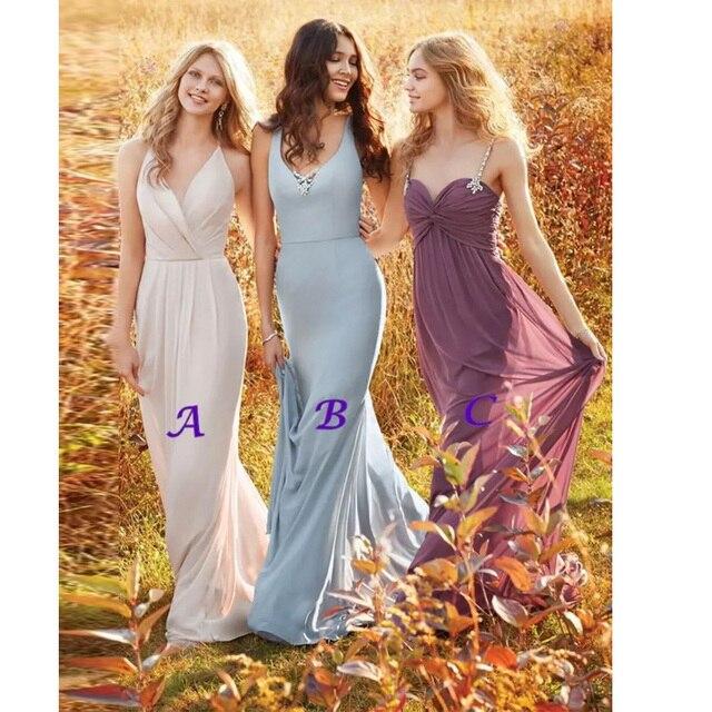 Us 154 99 Charming Long Bridesmaid Dresses Floor Length Wedding Guest Dress V Neck Spaghetti Bridal Gown Boho Summer Spring Custom Made In