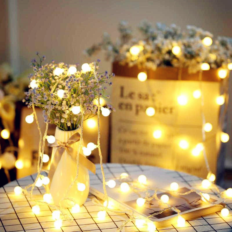 Ball Led String Light 100LED 10M 220V EU/US Lamp Led String Bulb Waterproof Outdoor Decoration Christmas Fairy Light Chains 20pcs bulb string light