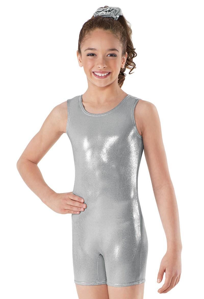 item shorty child dance unitard leotards spandex biketards short girls metallic toddler shiny gymnastics tank silver boys