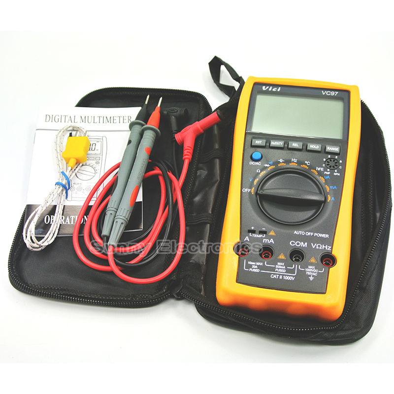 VC97 + auto range DMM AC DC Voltmeter Capacitance Resistance digital Multimeter VS FLUKE15B [randomtext category=