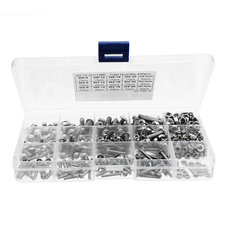 Suleve 440Pcs M3/M4/M5 Stainless Steel Button Head Hex Socket Cap Screws Bolts Nuts Assortment Kit New m3 m4 m5 steel head screws bolts nuts hex socket head cap and nuts assortment button head allen bolts hexagon socket screws kit