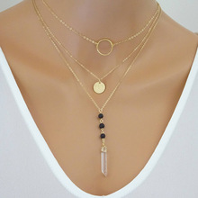 10pcs) Lava Stone Essential Oil Diffuser Necklace Aromatherapy Jewelry Crystal Multi-layer chain