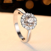 Engagement Ring Cubic Zirconia Hearts and Arrows Cut Jewelry Gift for Lover 5.5mm 0.8CT 100% Genuine 925 Sterling Silver Ring