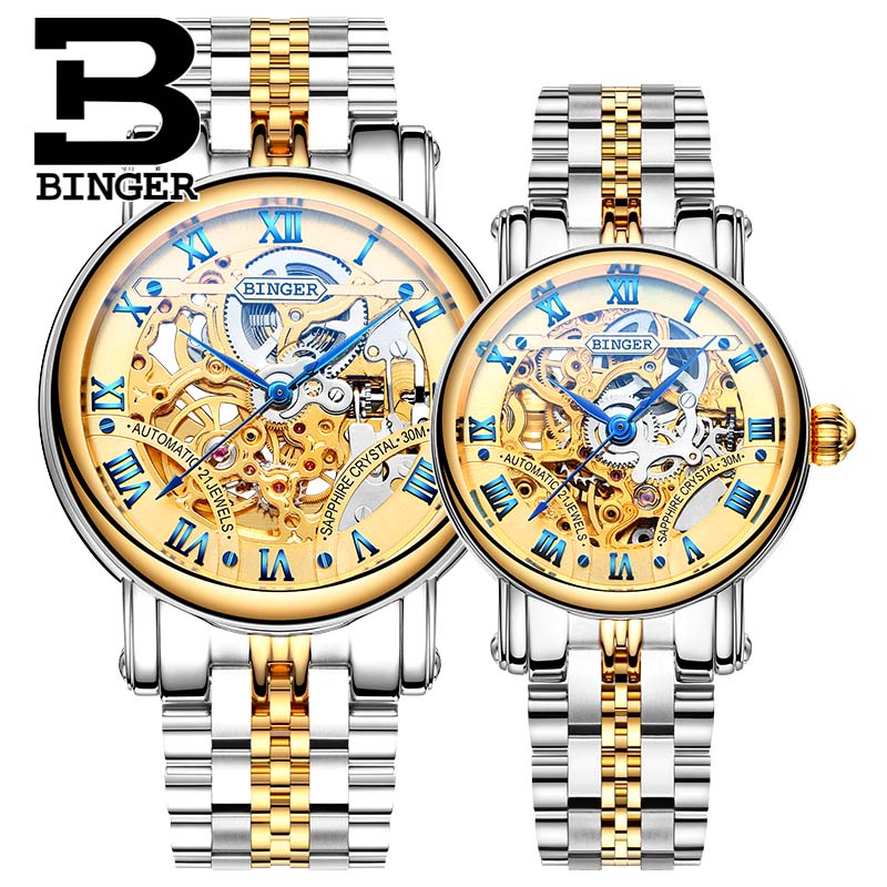 2016 New Watches BINGER Couple Automatic Watch Men Top Quality Skeleton Mechanical Watch For Women Wristwatch B-5066M new business watches men top quality automatic men watch factory shop free shipping wrg8053m4t2