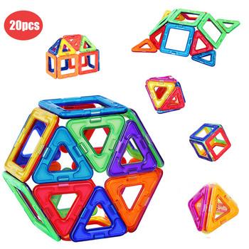 20 sztuk zestaw duży rozmiar magnetyczne projektant trójkąt kwadratowe klocki magnetyczne klocki modelowania klocki dla dzieci prezent tanie i dobre opinie 7-9Y 13-14Y 4-6Y 2-3Y 10-12Y 20pcs TM009 Z tworzywa sztucznego Magnetic Blocks as picture shows Magnetic Construction Designer