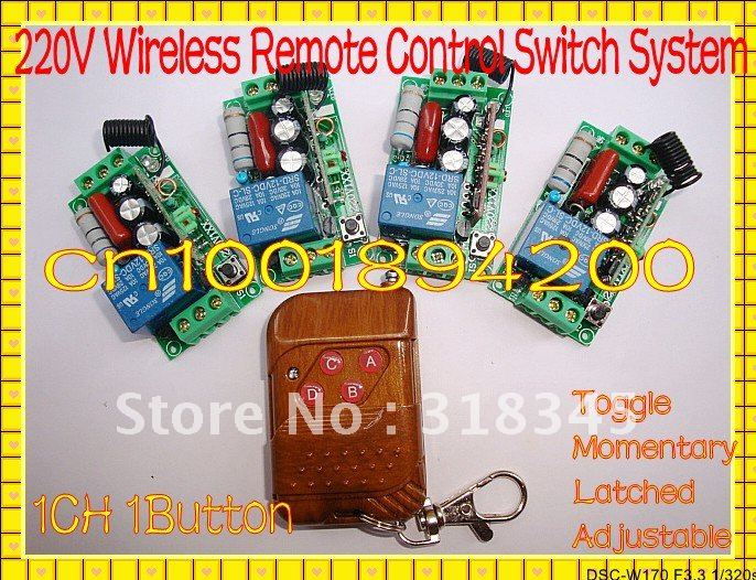 220V 1CH wireless switch 2AB button 4 Receiver&1Transmitter10A  output state is adjusted 1CH 1000W 200M Toggle /momentary 2 receivers 60 buzzers wireless restaurant buzzer caller table call calling button waiter pager system