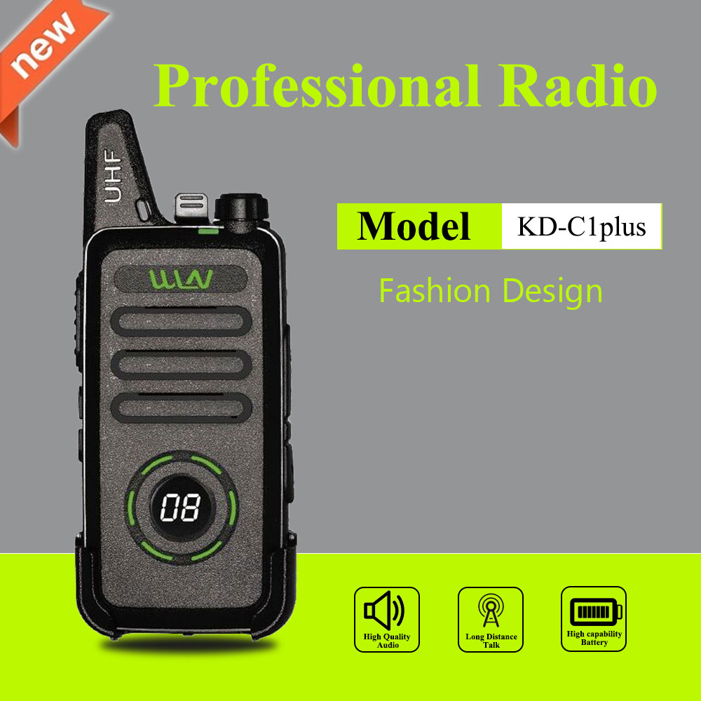 WLN KD-C1 Plus Mini Walkie Talkie UHF <font><b>400</b></font>-470 MHz With <font><b>16</b></font> Channels Two Way Radio FM Transceiver KD-C1plus image