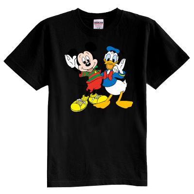 Los niños de la camiseta del verano de manga corta 100% algodón de dibujos animados mickey y pato muchacha del muchacho del cabrito de la camiseta