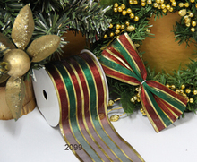 63mm red gold green stripes metallic gift packaging wired edge ribbon 25yards roll
