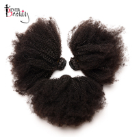 4B4C Brazilian Virgin Hair Afro Kinky Curly 3 Human Hair Bundles Deals Ever Beauty Hair Extension Natural Black Weave