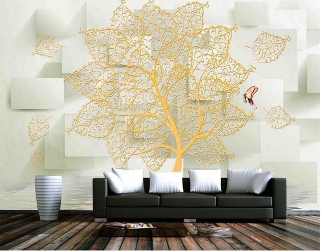 3d Tapete Für Wohnzimmer Moderne Kreative Baum Blumen 3d Box Hintergrund  Wand Rahmenlose Malerei Wandbild 3d