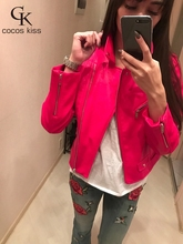 2017 New Arrive Fashion Street High quality Women's Short Washed PU Leather Jacket Zipper Bright Colors  Ladies Basic Jackets