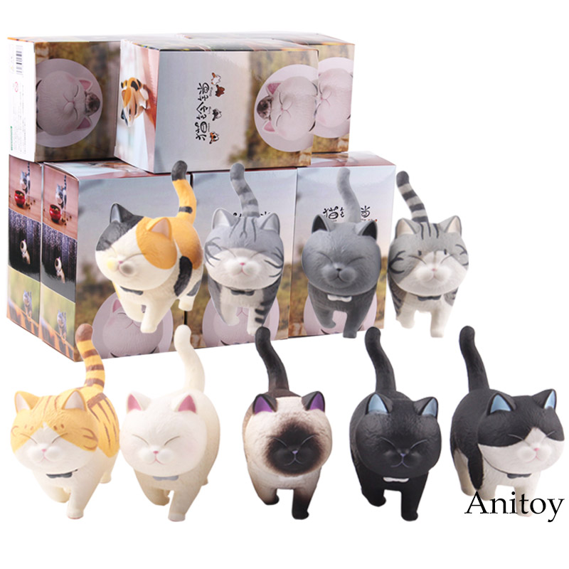 Cartoon Kawaii Lovely Cats Neko Action Figure PVC Cat Animal Figures Home Decoration Toys Dolls 9pcs/set