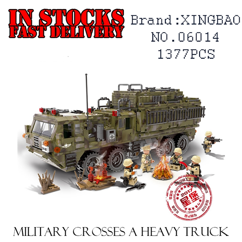 XingBao Military Weapons 06014 1377PCS The Scorpion Heavy Truck Building Blocks Bricks enlighten toys for children  brinquedos pvc building blocks army field combat military escort weapons